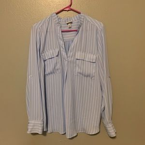 Blue and white strip long sleeved shirt